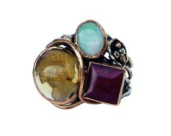 S17-50-anello oro rosa,argento,citrino,opale,rubino