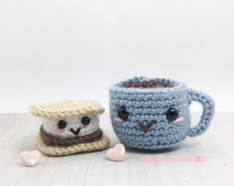 Cup And S'more Plush - Amigurumi Food Cute Keychain - Kawaii Crochet - Cute - Gift For Her