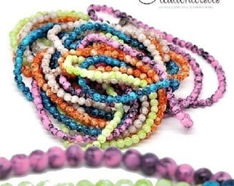 howlite glass beads 50 multicolored diameter 4 mm - effect speckled