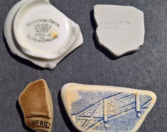 4 different and interesting pieces of genuine Irish Sea Pottery from the Isle of Man