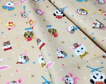 Circus Dressed Animals Cute Fabric_Japan