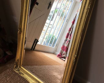 SOLD****Mirror Mirror on the Wall! Beautiful Large Rectangular Ornate Vintage Over Mantel/Wall Gilt Mirror 100 miles free shipping