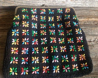 Colourful Beaded Vintage Clutch  purse/clutch/beaded/vintage