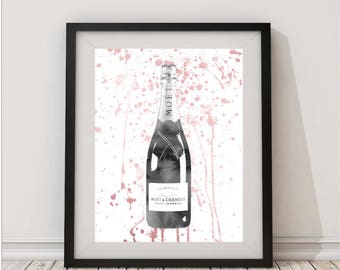 Grey Rose Gold,champagne bottle,champagne watercolor,champagne,wall art,champagne print,gift for women.champagne ,champagne art,celebration'