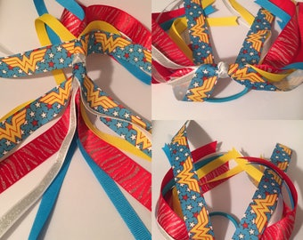 Wonder Woman, Wonder Woman hair bow,  Ponytail Streamer, ponytail, Hair Streamer, Ponytail holder, Marvel hair bow, Justice League