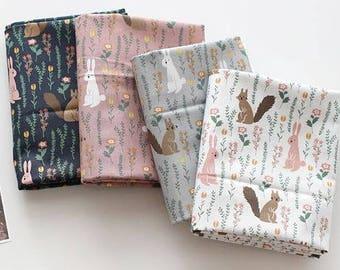 bunny woodland fabric/Squirrel fabric/chipmunk fabric/bunny fabric/forest rabbit fabric/cute baby fabric/nursery Squirrel/nursery fabric