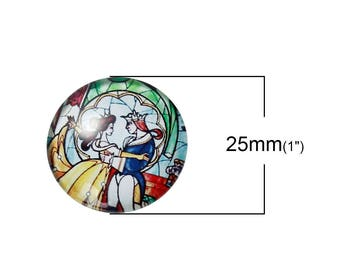 """""""Beauty and the beast"""" glass cabochon 25 mm"""