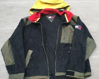 Vintage 90s Tommy Hilfiger Fleece Jacket Size Large