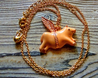 When pigs fly necklace flying pig charm enamel pig with wings enamel flying pig necklace pig jewelry flying pig pendant Pig with wings charm