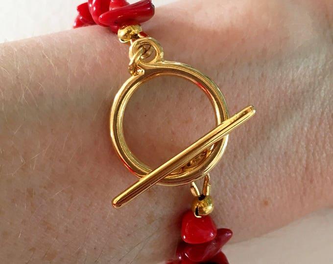 Red bracelet, Golden bracelet with sea bamboo red gemstones