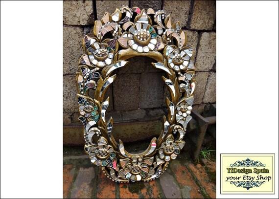 Marco con mosaico, Espejo mosaico cristales, Marco espejo dorado, Marco de madera tallada, Mosaico de espejos, Mosaico espejos artesano