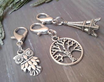 Charms bag, owl, tree, Eiffel Tower, charms pulls hinge, pendant for keychain, gift for girlfriends, gift friendship