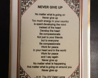 Dalai Lama poem on 5.5x8.5 blank notecard