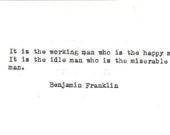 Benjamin Franklin hand typed vintage typewriter quote