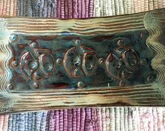 Handcrafted Stoneware Clay Soapdish/Candle holder
