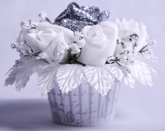 Silver Glitter Rose Table Decoration
