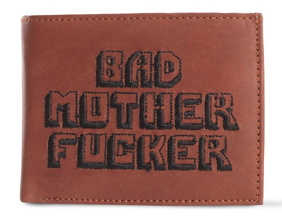 Bad Mother Fucker Large Print Brown Embroidered Leather Wallet