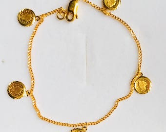 Queen charms 22k solid 916 gold bracelet