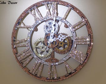 Stunning 3D wall clock hand encrusted with over 2,600 luxury Czech crystals