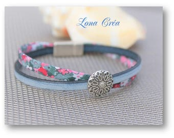 Bracelet Liberty and Vintage blue leather - from Zamak flower