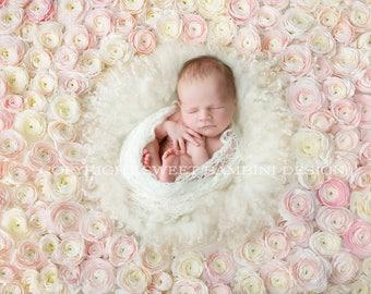 Newborn Digital Background for Girls - Fresh Flower Wall