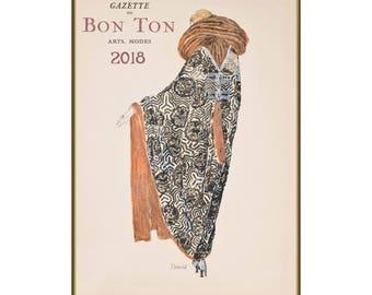"Wall Calendar 2018 (12 pages 8""x11""/A4) Vintage Fashion Gazette du Bon Ton Pochoir Art Deco M701"