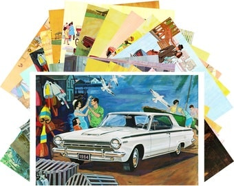 Postcard Pack (24 cards) Dodge Classic Cars American Advert Fifties CD3022
