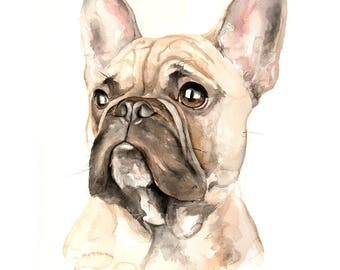 Custom pet portrait original watercolor painting dog art commission artwork French bulldog memorial animal wall art cat horse gift for her