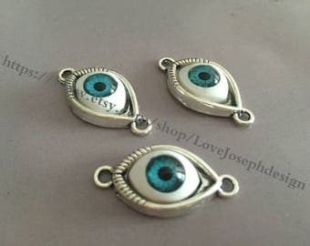 wholesale 50Pieces /Lot Antique Silver Plated 10mmx30mm horse eyeball connector including matching eyeball(#047)
