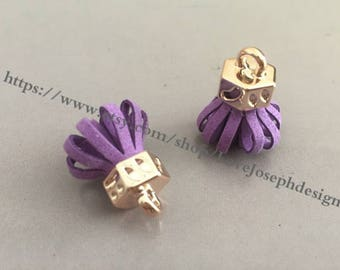 20pieces purple suede leather KC gold caps ear tassel --for length 30mmx20mm (#0180)