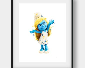 The Smurfs Print, Smurfette Print, Smurfs Printable, Smurfette Printable, Smurfette Nursery, Smurfette Decor, Watercolor Smurf, The Smurfs