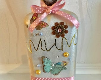 Mother's Day hand decorated silver embellished bottle, decorative bottle, metallic, butterflies, lace, mum, vintage style, birthday, gifts