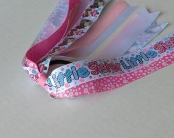 Little sister ponytail streamer, glitter hair tie,  Sisters hair bow,  siblings ponytail streamer, big sister hair bow, pink hair bow