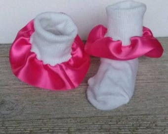 Pink ruffle socks, Church socks, baby socks, fancy socks, satin ruffle socks, pageant socks, baby ruffle socks, Easter ruffle socks, dressy