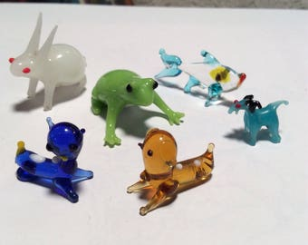 Vintage Lot of Miniature Glass Animals ~ Hand Blown Glass ~ Tiny Animal Figurines
