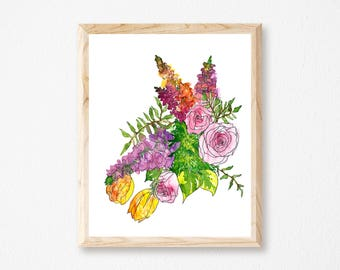 Bright Floral Watercolor Botanical Print, Colorful, Mixed Media