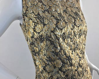 Vintage 1960's Sleeveless Cropped Top With Gold & Black Floral Print/Size 14