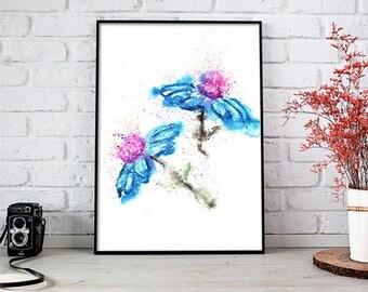 Blue Flower Watercolor Painting, Blue Flower Art, Blue Flower Painting, Blue Flower Art Print, Blue Flower Wall Art, Contemporary Art