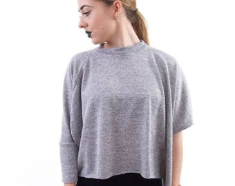Grey split side tee