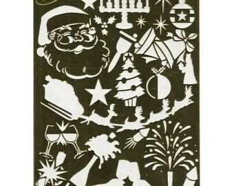 Brass stencil large 14.6 x 20.8 cm Christmas