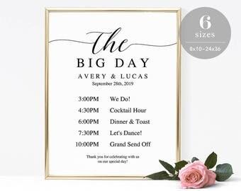 Wedding Timeline Sign Template, Wedding Program Sign Printable, Wedding Welcome Sign, Welcome Board PDF Template Instant Download #SPP007wtl