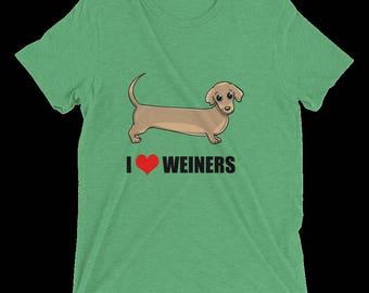 I Love Weiners - Unisex Triblend Tee Shirt