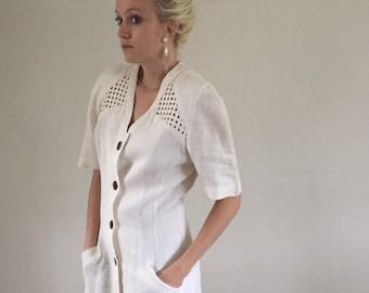 Vintage 90s Creamy White 100% Linen Button Front Wiggle Dress w/ Lattice Detail