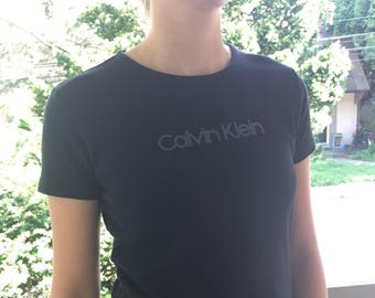 Vintage 90s Fitted Black CK Calvin Klein Jeans Logo Tee T-Shirt | XS/S