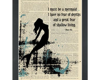 Literary quote Anais Nin Must be a mermaid Dictionary Art Print