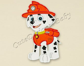 Paw Patrol Marshall applique embroidery design, Paw Patrol Machine Embroidery Designs, Embroidery designs for baby, Instant download #003