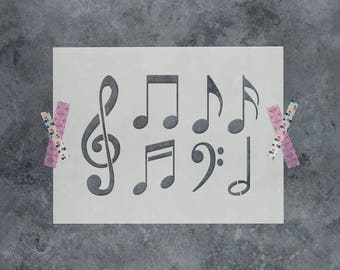 Music Notes Stencil - Reusable DIY Craft Stencils of Music Notes