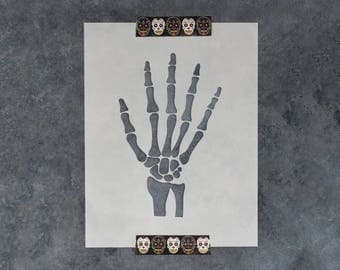 Skeleton Hand Stencil - Reusable DIY Craft Stencil of a Skeleton Hand