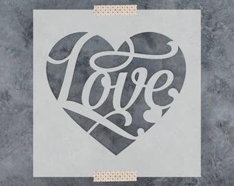 Love Heart Stencil - Reusable DIY Craft Stencils of a Love Heart