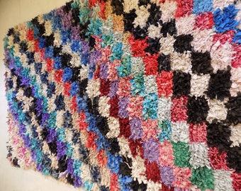 Vintage handmade Moroccan Berber Rug Azilal BeniOurain Boucherouite Rugs 6.8 ft x 4.2 ft